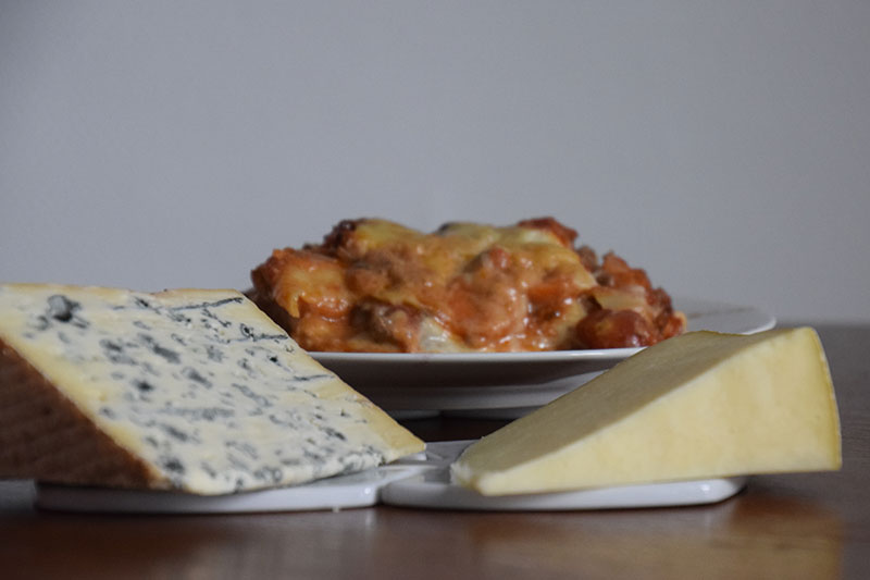 Lasagnes au bleu d'Auvergne et au Cantal jeune AOP